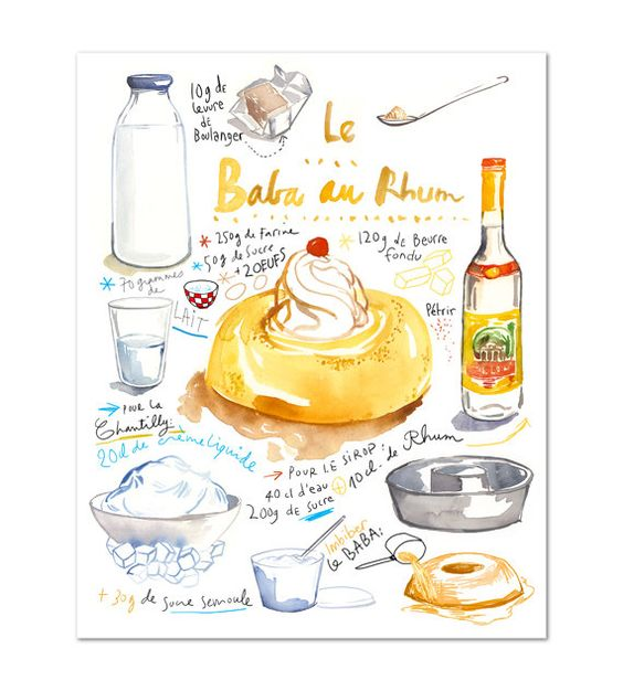 French Cake Recipe Poster, Baba Au Rhum Watercolor