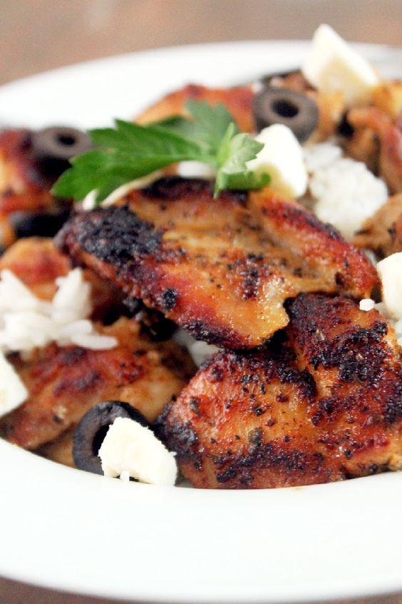 Greek Chicken Bowl - chicken thighs marinated in greek yogurt, olive ...