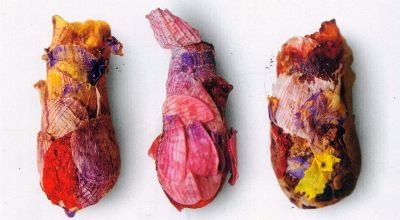 There's a species of solitary mason bees that make these pretty little nests for their larvae out of flower petals.