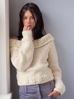 Knitting Pattern Baby Sweater Chunky Yarn : Off shoulder sweater pattern using chunky yarn. Quick and ...