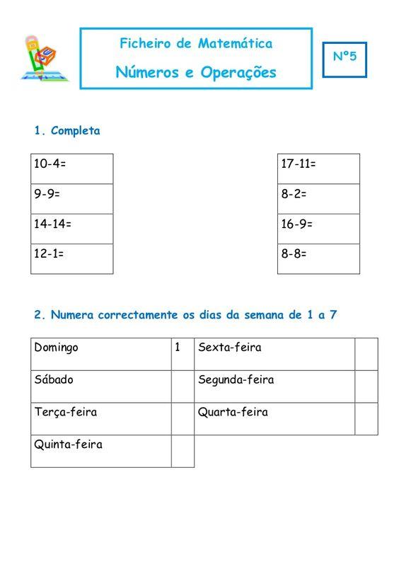 Ficheiro de Matemática                                                    Nº5               Números e Operações1. Completa...