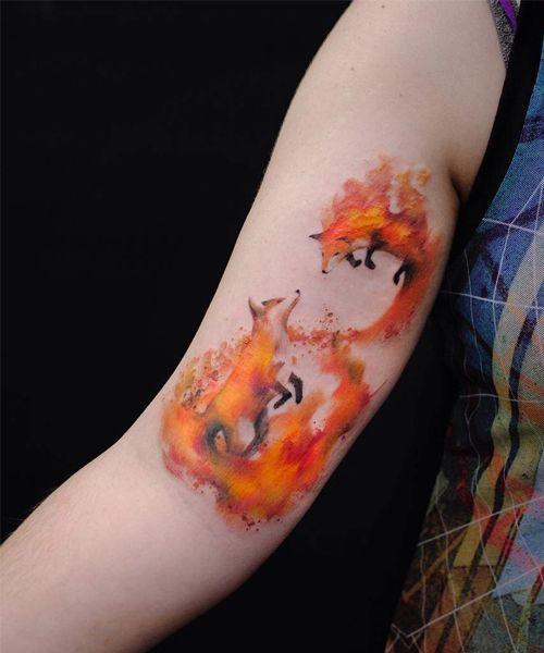 Cute Fox Pair Tattoo Design On Arm For Girls Watercolor Fox Tattoos Fox Tattoo Tattoos