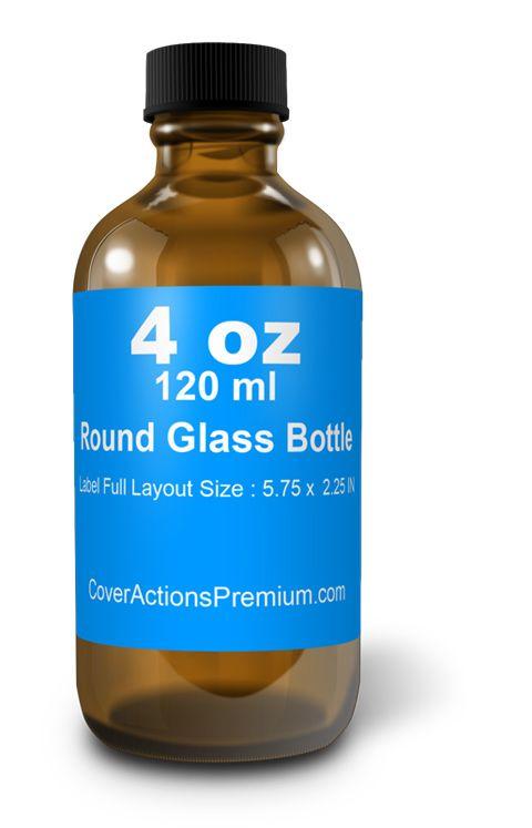 4 Oz Round Glass Bottle Mockup Cover Actions Premium Mockup Psd Template Bottle Mockup Bottle Glass Bottles