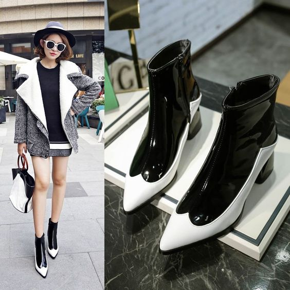 Fashion Womens Macth Color Pointy Toe Casual Shoes Block Mid Heels Ankle Boots