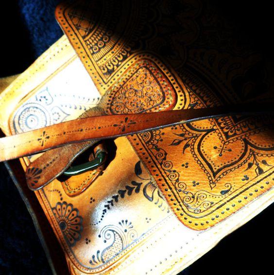 Custom pyrographed vintage leather bag via Etsy...  Custom requests are always welcomed!  www.facebook.com/behennaed