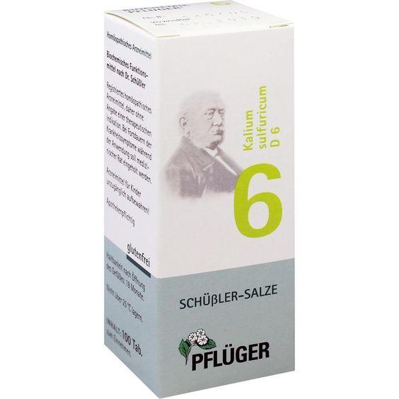 BIOCHEMIE Pflueger 6 Kalium sulfuricum D 6 Tabletten:   Packungsinhalt: 100 St Tabletten PZN: 06319286 Hersteller: A.Pflüger GmbH & Co.…