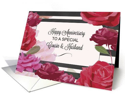 Cousin Husband Wedding Anniversary Congratulations With Roses Strip Card Happy Anniversary Cards Anniversary Congratulations Happy Wedding Anniversary Wishes