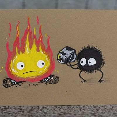 "4x6"" art card - calcifer and soot"