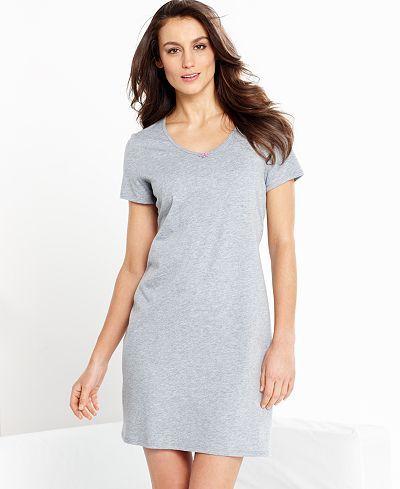 Nautica Short Sleeve V-Neck Sleepshirt - Bras, Panties & Shapewear - Women - Macy's Final Price: $20.99
