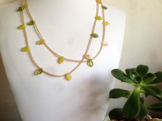 Green Leafy Extra Long Necklace >> @Etsy, $28.00 #5one7designs www.5one7designs.etsy.com #handmade #jewelry #necklace #leaf #spring #renewal #growth #april #may #green #yellow #extralong #longnecklace #bohemian #boho #flapper #hippie #chic #ivy #poisonivy #yellowgreen #mayflowers