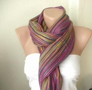 Rainbow multicolor Cotton and Viscone Long Scarf