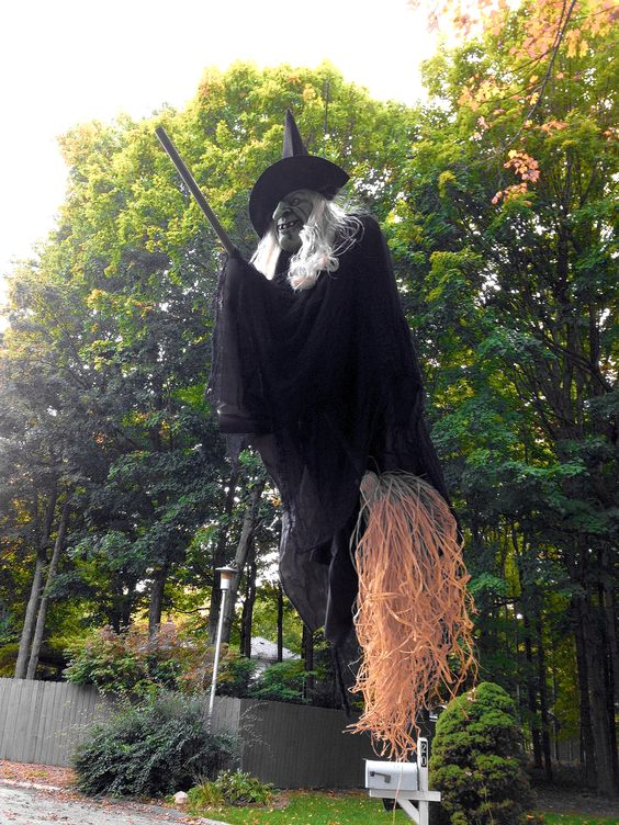 Hanging witch for Halloween.