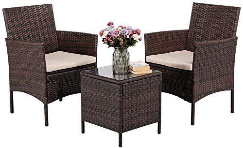 Buy Yaheetech 3 Pieces Patio Furniture Sets Pe Rattan Wicker