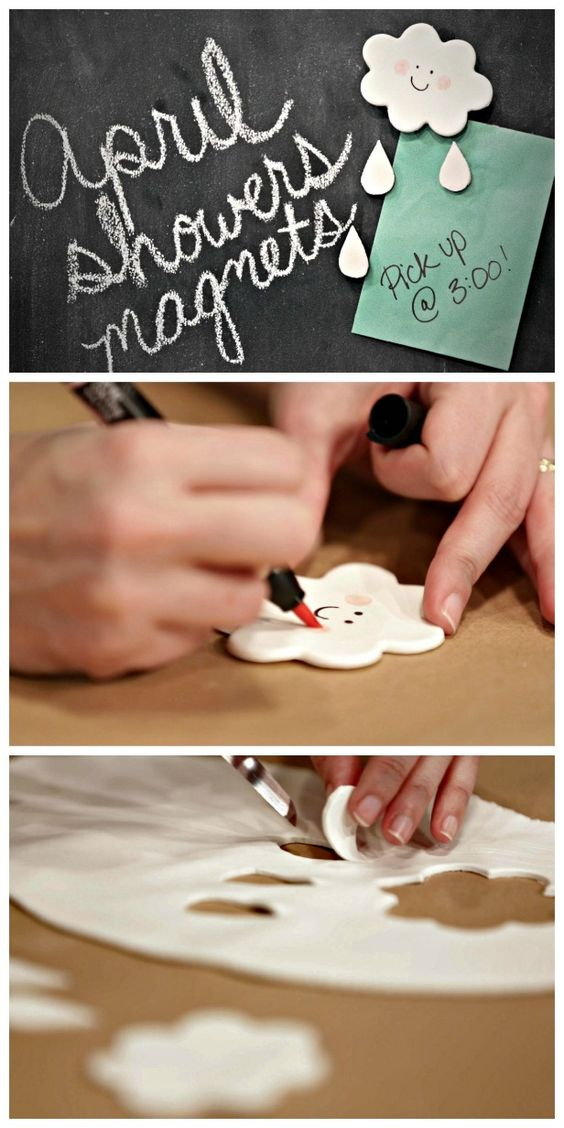 HGTV Crafternoon: April Showers Magnets (http://blog.hgtv.com/design/2014/04/22/air-dry-clay-cloud-magnets/?soc=pinterest)