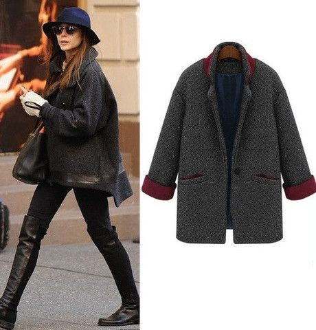 Elizabeth Olsen Exclusive Grey Wool Coat | Celebrity Jackets