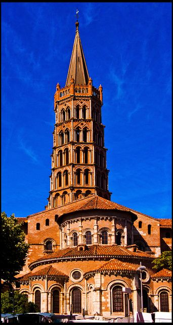 """Basilica Saint Sernin, in Toulouse, France (my hometown)  Roman Catholic. Year consecrated:1180 - As well as Saint Saturnin, Saint Honoratus is also buried here.The crypt contains the relics of many other saints. It is said to include a thorn that used to belong to the """"Crown of Thorns"""" Jesus wore during his crucifixion. The Basilica of St. Sernin was   designated in 1998 a  UNESCO World Heritage site because of its significance to the Santiago de Compostela pilgrimage route."""