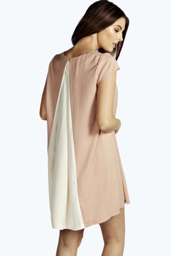 Etta Colour Block Pleated Back Trapeze Dress