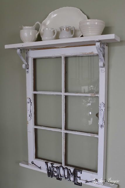 Vintage window upcycled into a display for ironstone for Ideas for old windows pictures