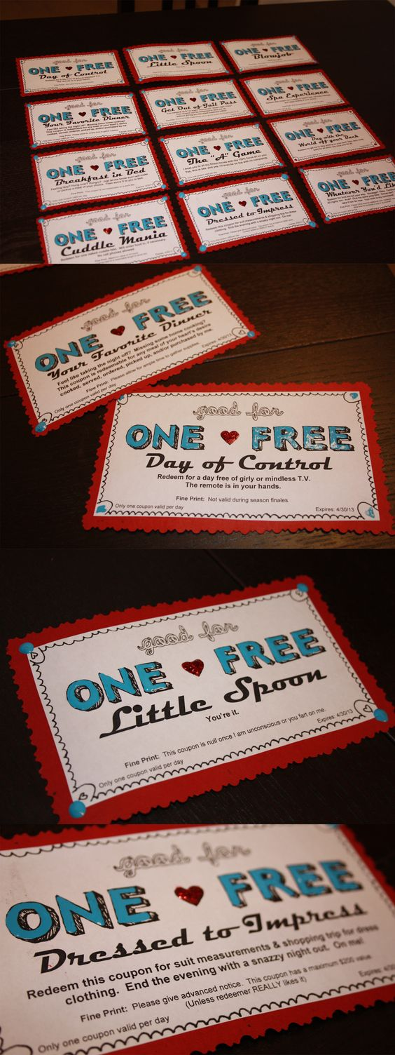 coupons I made for my boyfriend's birthday! One free meal I won't eat any of your food off your plate