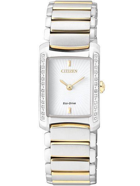 citizen   €349   Dameshorloge EG2965-53A Elegant edelstaal bicolour parelmoerwijzerplaat 24 diamanten saffierglas 5 bar waterdicht veiligheidssluiting #citizen #watch #eco-drive #dameshorloge