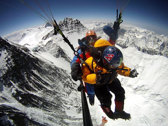 Paragliding off Everest... just climbing it isn't enough apparently lol