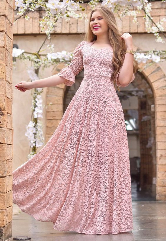 Vestido Longo de Renda Bordado - Moda Evangélica - Flor de Amêndoa