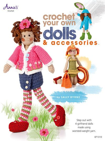 """New from Annie's! Features four crocheted dolls and accessories, including a nurse, a sunbather, a school girl and a girl walking in the rain. Each doll has its own accessories and are made using soft medium worsted weight yarn and include embellishments of beads, buttons, and ribbons. Dolls are stuffed with fiberfill and measure approximately 13"""" high.Skill Level: Intermediate"""
