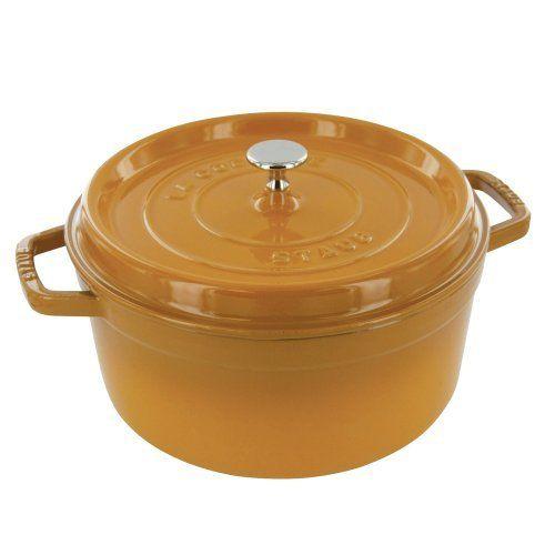 Staub Round Cocotte - 2.75Qt - Saffron by Staub, http://www.amazon.com/dp/B0092VXU0U/ref=cm_sw_r_pi_dp_kqeArb170DBF9