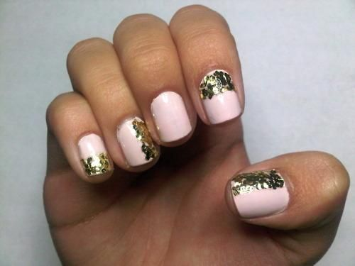Pink and gold glitter #manicure