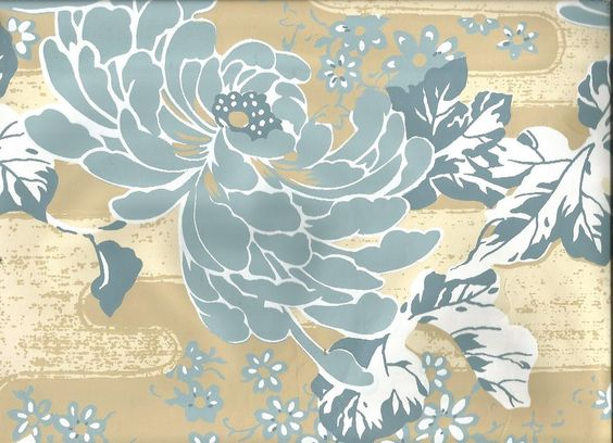 Art Deco Large Scale Flower Teal Blue On Cream Floral Vintage Wallpaper