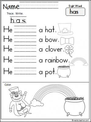 free st patrick 39 s day sight word reading and writing worksheet for the word 39 has 39 terrific. Black Bedroom Furniture Sets. Home Design Ideas