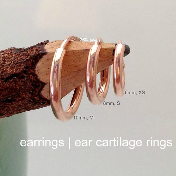 Mens Earrings or Ear Cartilage Wire Hoops  Helix by 360Jewels, $17.00