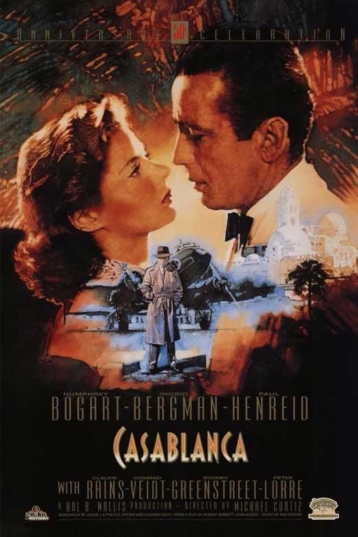 Casablanca Movie Poster 11 X 17, Humphrey Bogart, Ingrid Bergman, S, Usa