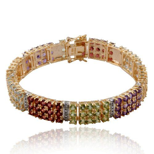 $1,000 : 18k Yellow Gold Plated Sterling Silver Multi-Gemstone and Diamond-Accent Bracelet, 7.25""