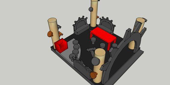 Zijaanzicht digitale schets ontwerp 3 podium