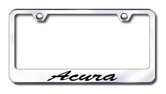 Acura Script License Plate Frame  http://www.prideonmyride.com/Acura-Script-License-Plate-Frame_p_584.html#