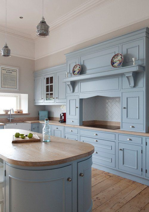 Handcrafted Kitchen In Powder Blue And Wood Town Country Living New Kitchen Cabinets Kitchen Design Custom Kitchen Cabinets