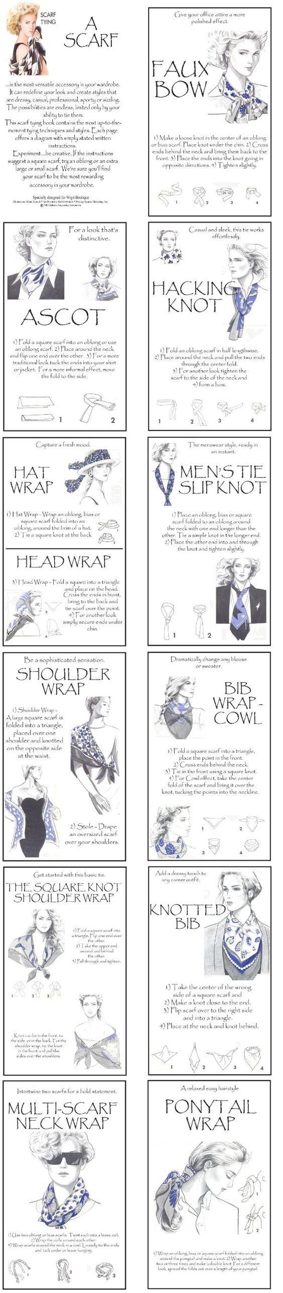 Many ways to tie a scarf