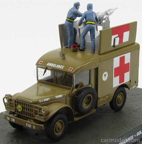 EDICOLA BONDCOL127 Skala: 1/43  DODGE M-43 TRUCK AMBULANCE 1964 - 007 JAMES BOND - GOLDFINGER BROWN Skala:: 1/43 Zustand: M Code: BONDCOL127 Farbe: BROWN Material: Die-Cast