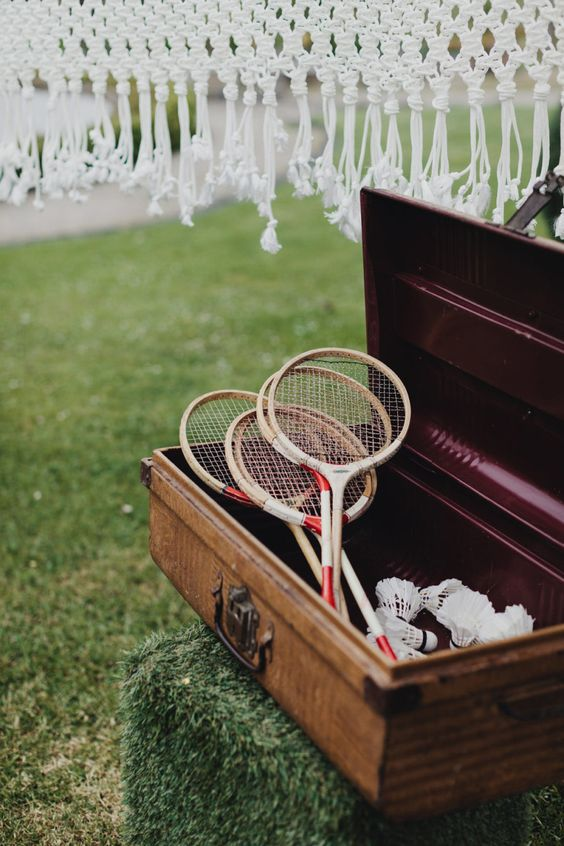 macrame badminton net and vintage rackets