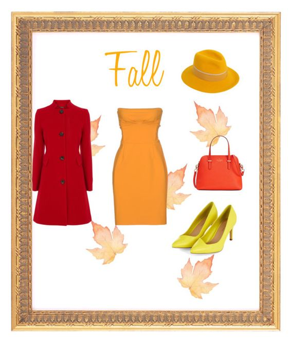 """FALL COLORS"" by sophiapoindexter on Polyvore featuring Christies à Porter, Coast, Kate Spade and Maison Michel"