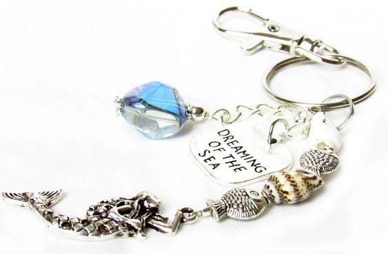 Mermaid Keychain, Mermaid Gift, Dreaming of the Sea Keychain, Car Accessories #Handmade