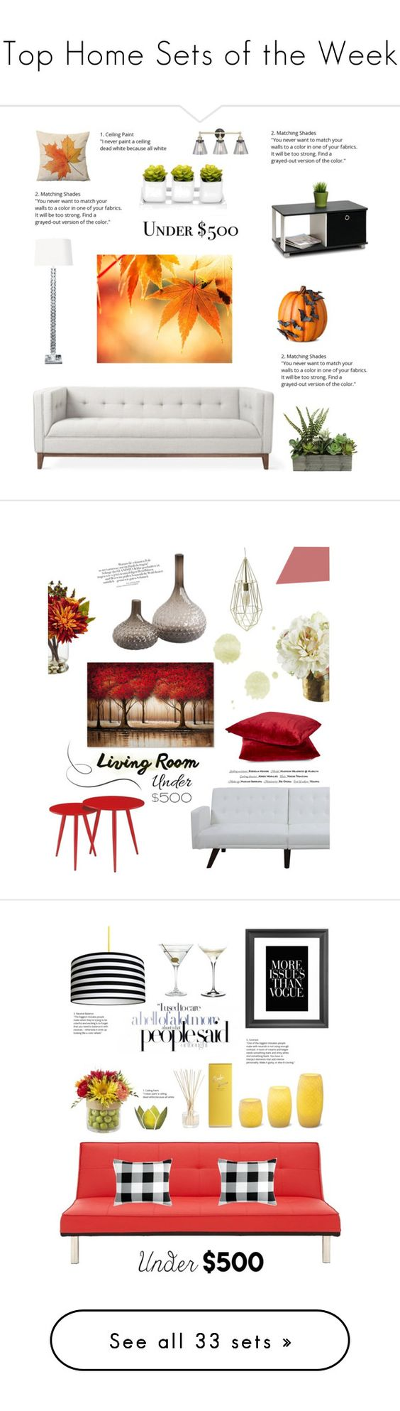 """""""Top Home Sets of the Week"""" by polyvore ❤ liked on Polyvore featuring interior, interiors, interior design, home, home decor, interior decorating, Gus* Modern, Improvements, Furinno and livingroom"""