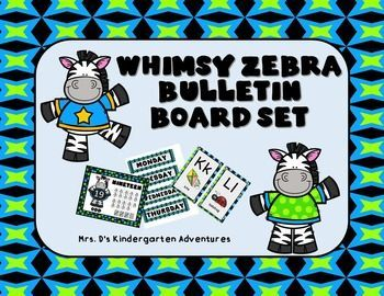 Thank you for buying my Whimsy Zebra Bulletin Board Set!   Perfect for Calendar Time!Included in this set you will find the:1.  Whimsy Zebra Calendar Set2.  Whimsy Zebra Math Posters3.  Whimsy Zebra Alphabet Posters. Calendar Set includes:Months of the Year Headers2 sets of Days of the WeekNumber Cards 1-31Birthday Cards (cupcake)Today Is:Yesterday Was:Tomorrow Will Be:Years 2015-2019Estimating JarTally Marks HeaderSeasons Lets Count!