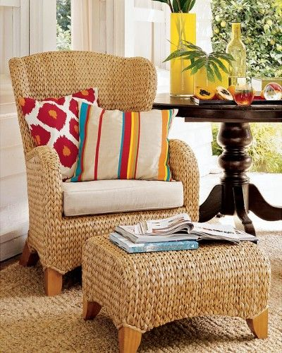 wing back seagrass chair
