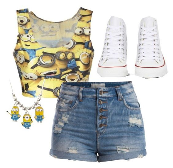 """Minion  everyday outfit"" by sbfreshwater ❤ liked on Polyvore featuring Pieces and Converse"