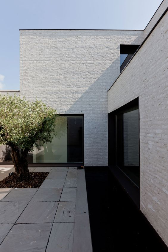 """Swap the hardscape for the thick fired adobe pavers - boom! I think the texture really enlivens the white. The olive tree is the """"cherry on top"""" here."""