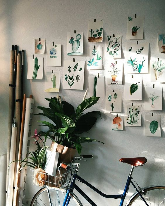 Nature board. Watercolors of desert plants and succulents is such a natural and cute idea for an idea wall!