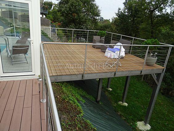 terrasse bois suspendue sur pilotis et balcons bois