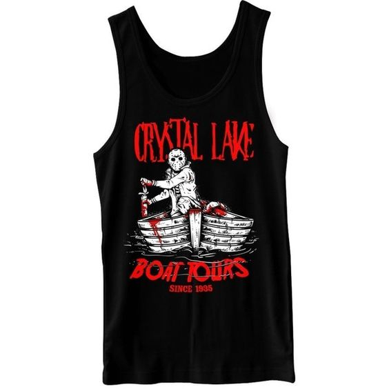 Crystal Lake Boat Tours Retro Horror Tank Top ❤ liked on Polyvore